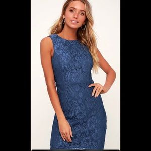 Lulus: BLUE LACE BACKLESS BODYCON DRESS
